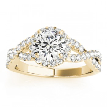 Diamond Decked Two Sided Infity Shape Engagement Ring Setting 18k Yellow Gold (0.52ct)