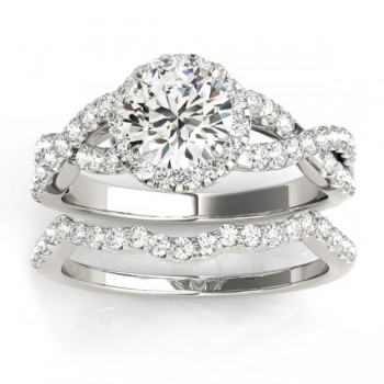 Diamond Infinity Halo Engagement Ring & Band 14k White Gold (0.73ct)