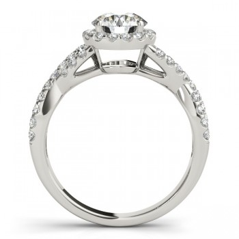 Moissanite Infinity Twisted Halo Engagement Ring 14k White Gold 1.00ct