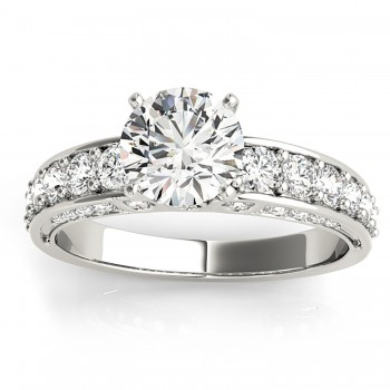 Multi Row Diamond Engagement Ring 14k White Gold (0.50ct)