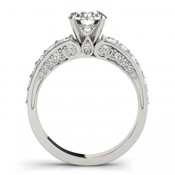 Multi Row Diamond Engagement Ring 14k White Gold (0.50ct)