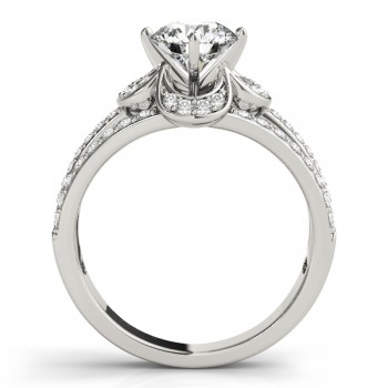 Diamond Three Row Clover Engagement Ring 14k White Gold (0.58ct)