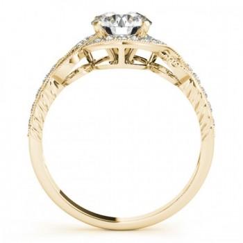 Vintage Style Halo Diamond Engagement Ring Setting 14k Y. Gold 0.25ct