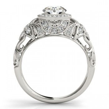 Edwardian Diamond Halo Engagement Ring Floral 14k White Gold 1.20ct