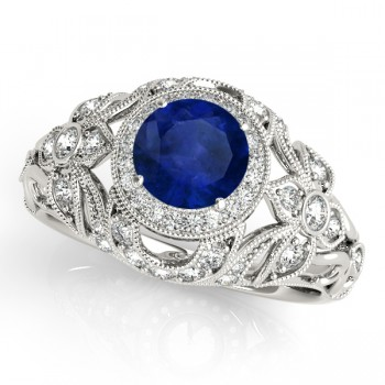 Edwardian Blue Sapphire & Diamond Halo Engagement Ring 14k W Gold (1.18ct)
