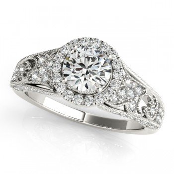 Art Deco & Milgrain Diamond Halo Engagement Ring 14k White Gold 1.18ct