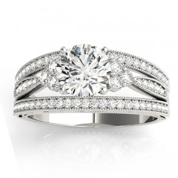 Diamond Three Row Split Shank Engagement Ring 14k White Gold(0.42ct)