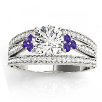 Diamond & Tanzanite Three Row Split Shank Engagement Ring 14k White Gold(0.42ct)