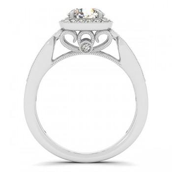 Designer Diamond Halo Engagement Ring 14k White Gold (1.25ct)