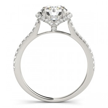 Bow-Inspired Halo Diamond Engagement Ring 14k White Gold (1.33ct)