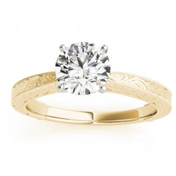 Floral Solitaire Engagement Ring 18k Yellow Gold