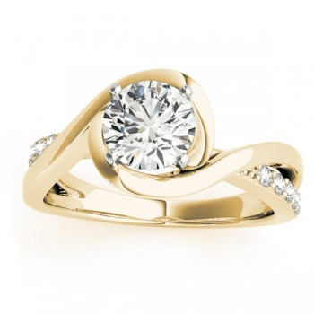Solitaire Bypass Diamond Engagement Ring 18k Yellow Gold (0.13ct)