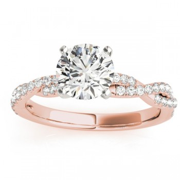 Diamond Twist Sidestone Accented Engagement Ring 14k Rose Gold (0.19ct)