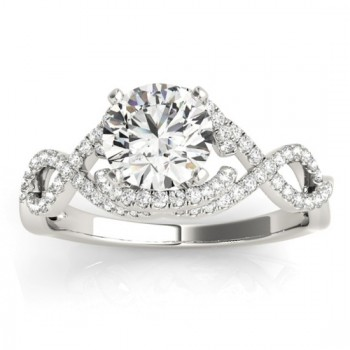 Diamond Twisted Infinity Engagement Ring 14k White Gold (0.22ct)