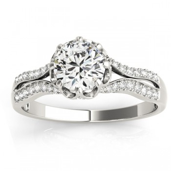 Diamond Twisted Engagement Ring 14k White Gold (0.18ct)