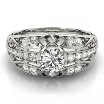 Diamond Art Deco Engagement Ring 14k White Gold (0.73ct)