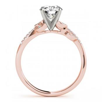 Aquamarine & Diamond Vine Leaf Engagement Ring Setting 14K Rose Gold (0.10ct)