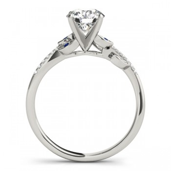 Blue Sapphire & Diamond Vine Leaf Engagement Ring Setting 14K White Gold (0.10ct)