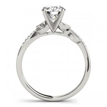 Diamond Vine Leaf Engagement Ring Setting 14K White Gold (0.10ct)