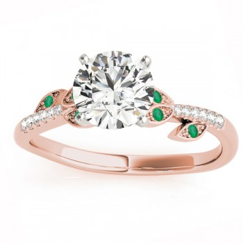 Emerald & Diamond Vine Leaf Engagement Ring Setting 18K Rose Gold (0.10ct)