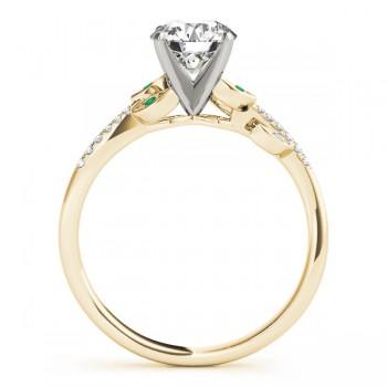 Emerald & Diamond Vine Leaf Engagement Ring Setting 18K Yellow Gold (0.10ct)