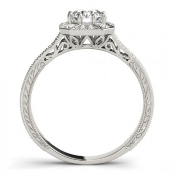Diamond Antique Style Engagement Ring Setting 14K White Gold (0.21ct)