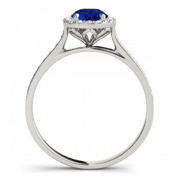 Diamond Halo Blue Sapphire Engagement Ring 14k White Gold (1.29ct)