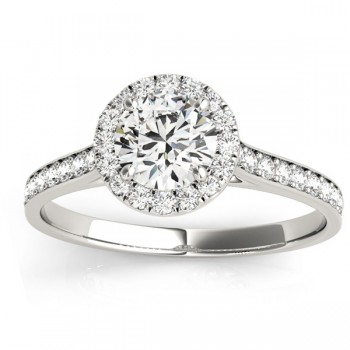 Diamond Halo Engagement Ring 14k White Gold (0.29ct)