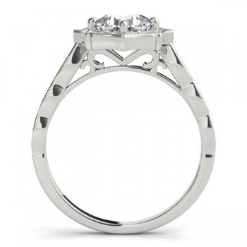 Diamond Accented Halo Engagement Ring Setting 14K White Gold (0.26ct)
