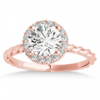 Diamond Halo Twisted Rope Engagement Ring in 18k Rose Gold (0.10ct)
