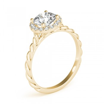 Diamond Halo Twisted Rope Engagement Ring in 18k Yellow Gold (0.10ct)