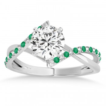 Diamond & Emerald Bypass Semi-Mount Ring in 14k White Gold (0.14ct)