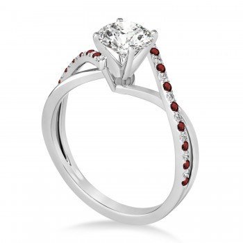 Diamond & Garnet Bypass Semi-Mount Ring in 14k White Gold (0.14ct)