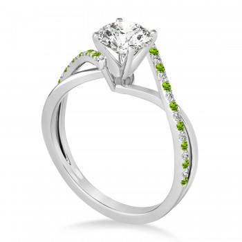 Diamond & Peridot Bypass Semi-Mount Ring in 14k White Gold (0.14ct)