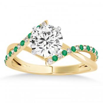 Diamond & Emerald Bypass Semi-Mount Ring in 14k Yellow Gold (0.14ct)
