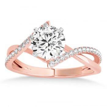 Diamond Bypass Semi-Mount Ring/Wedding Band in 18k Rose Gold (0.14ct)