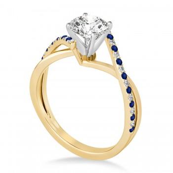 Diamond & Blue Sapphire Bypass Semi-Mount Ring in 18k Yellow Gold (0.14ct)