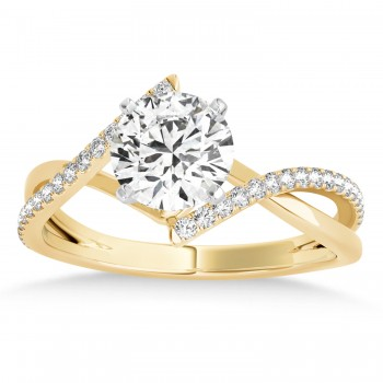 Diamond Bypass Semi-Mount Ring/Wedding Band in 18k Yellow Gold (0.14ct)