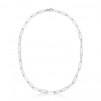 Flat Paperclip Link Chain With Lobster Clasp Sterling Silver