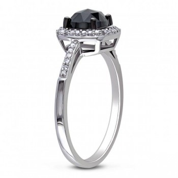 Black & White Diamond Engagement Ring 14k White Gold (1.00ct)