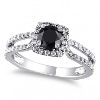Black & White Diamond Euro Shank Engagement Ring 14k Gold (1.20ct)