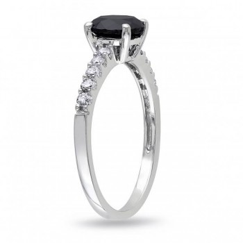 Black & White Diamond Engagement Ring 14k White Gold (1.25ct)