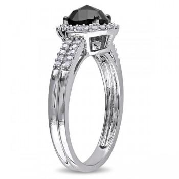 Black & White Diamond Oval Engagement Ring 14k White Gold (1.00ct)