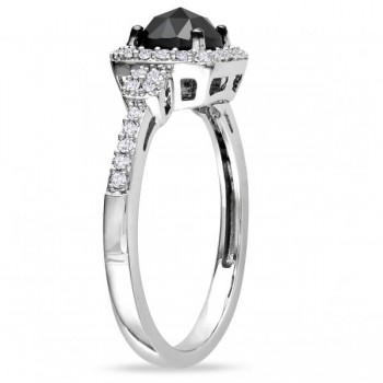 Black & White Diamond Halo Engagement Ring 14k White Gold (1.00ct)