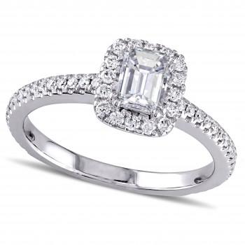 Emerald and Round Diamond Halo Engagement Ring 14k White Gold (0.87ct)