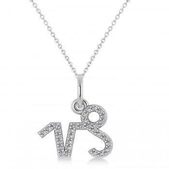 Capricorn Zodiac Diamond Pendant Necklace 14k White Gold (0.155ct)