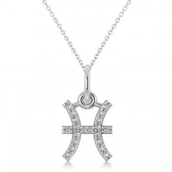 Pisces Zodiac Diamond Pendant Necklace 14k White Gold (0.10ct)