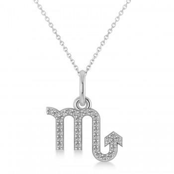 Scorpio Zodiac Diamond Pendant Necklace 14k White Gold (0.16ct)
