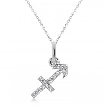 Sagittarius Zodiac Diamond Pendant Necklace 14k White Gold (0.10ct)