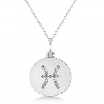Diamond Pisces Zodiac Disk Pendant Necklace 14k White Gold (0.085ct)